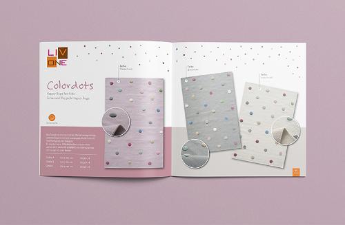 Broschüren-Design für handgemachte Kinderteppiche