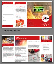 Broschüren-Design für Schulungen und Brandschutzdienstleistungen