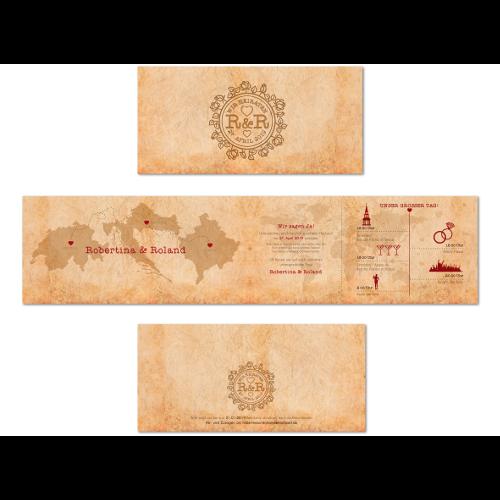 Kreatives Hochzeits-Einladungsdesign mit Weltkarte