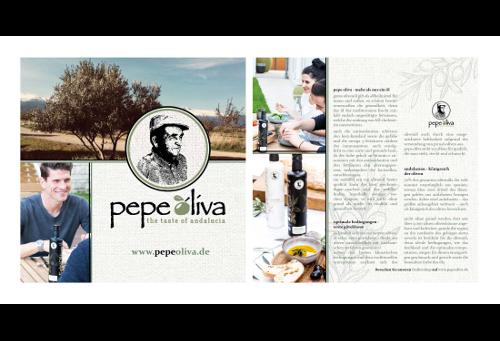 Flyer-Design für Pepe Olivas Premium-Olivenöl