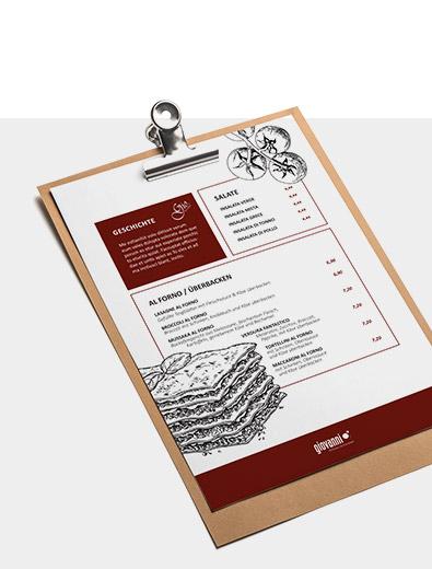 Speisekarten-Design für Italiener - Speisekarten-Design Beispiel