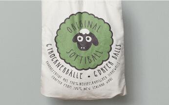 Baumwollbeutel-Verpackungsdesign für Trocknerbälle