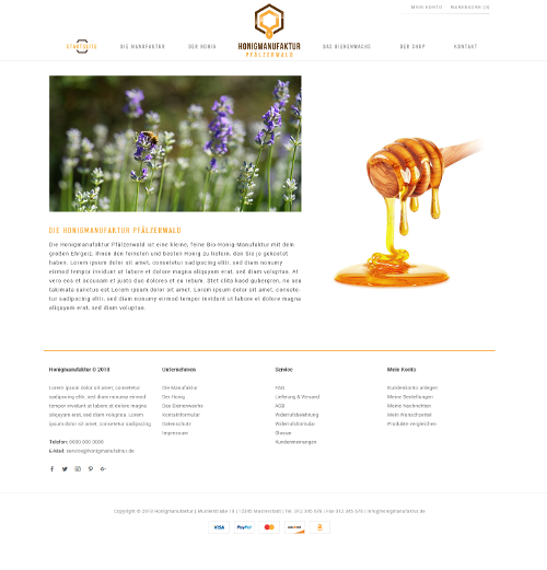 Webdesign für Honigmanufaktur